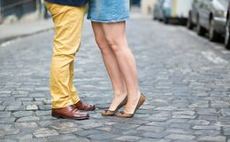 Male and female legs during a date Royalty Free Stock Photography