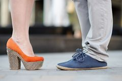 Male and female legs during a date Stock Photo