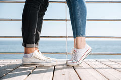 Male and female legs on a date Royalty Free Stock Photography