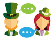 Male and female leprechauns icons Stock Image