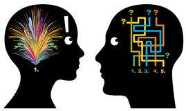 Male and Female Logic. Men and women think, perceive and decide in different ways Royalty Free Stock Photography