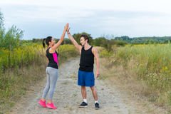 Male And Female Making High Five In Countryside Royalty Free Stock Image
