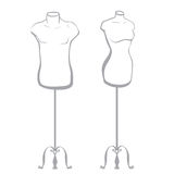 Male and female mannequin made in thumbnail style Royalty Free Stock Images