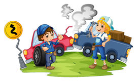 A male and a female mechanic fixing the damaged cars. Illustration of a male and a female mechanic fixing the damaged cars on a white background Royalty Free Stock Photos