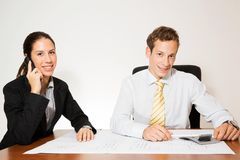 Male and female model business dressed Royalty Free Stock Photo