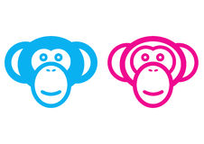 Male and female monkey. Vector male and female monkey signs Royalty Free Stock Photography