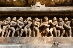 Male. Female and the Moods. Statue of male, female in myriad moods sculpted on wall panel of Lakshman Temple, Khajuraho, Madhya Pradesh, India, Asia Stock Images