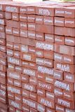 Male and female names written in red brick. The names of the pilgrims Stock Photos