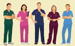 Male and Female Nurses or Surgeons vector illustration