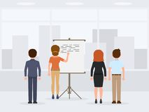Male and female office workers making presentation. Young working meeting people cartoon character report. royalty free illustration