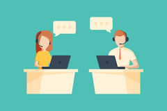 Male and female operator with headset working at call center. Customer service concept Stock Image