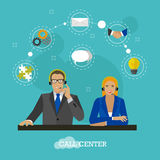 Male and female operators in call center concept vector banner.  Stock Images