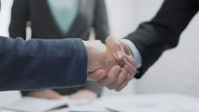 Male and female partners shaking hands, come to agreement, diplomatic relations. Stock footage stock video