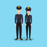 Male and Female police officers in flat design. Stock Photo