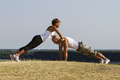 Male and female practising Stock Photography