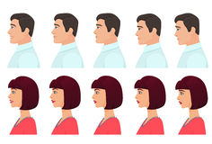 Male and Female profile avatars expressions set. Man and Woman facial profile emotions from sadness to happiness Royalty Free Stock Image