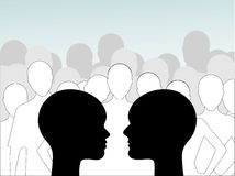 Male and female profile crowd Royalty Free Stock Image