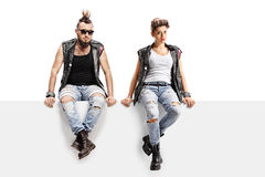 Male and female punkers sitting on a panel. Isolated on white background Stock Photography