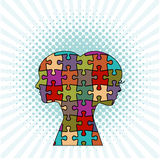 Male and female puzzle. Interlocking pieces Royalty Free Stock Images