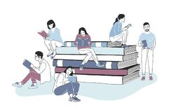 Male and female readers dressed in stylish clothes sitting on pile of giant books or beside it and reading. Studying royalty free illustration