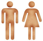 Male and female on recycle paper Stock Image