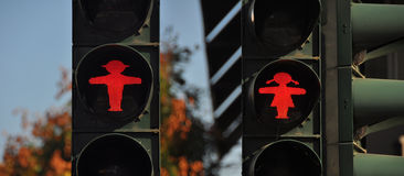 Male and female red ampelmann, traffic light in eastern germany Royalty Free Stock Photography