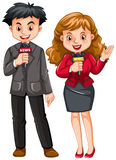 Male and female reporters Royalty Free Stock Photos