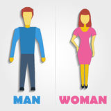 Male and Female Restroom Symbol Icon. Vector illustration. Male and Female Restroom Symbol Icon with blend shadows. Vector illustration of man and woman Stock Images