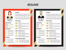 Male and female resume templates with flat elements. Modern style male and female resume templates with flat elements. Vector illustration royalty free illustration