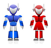 Male and Female Robot. A pair of male and female robot in blue and red color Royalty Free Stock Image