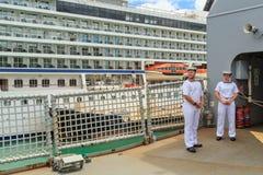 Sailors on the deck of the New Zealand Navy ship HMNZS Canterbury stock photos