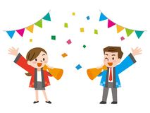 Male and Female salesperson dressed in festival clothes. Vector illustration.Original paintings and drawing vector illustration