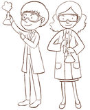 Male and female scientists Stock Photo