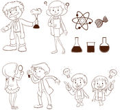 Male and female scientists. A plain drawing of the male and female scientists on a white background stock illustration