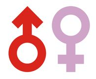 Male Female Sex Icon. Male [Red] Female [Mauve] Sex symbol. Vector [eps format] is also available stock illustration