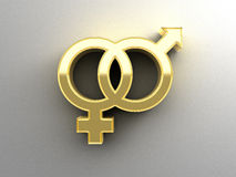 Male and female sex signs - gold 3D quality render on the wall b Royalty Free Stock Photography