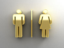 Male and female sex signs - gold 3D quality render on the wall b Royalty Free Stock Image