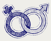 Male and female sex symbol. Illustration of male and female sex symbol. Doodle style Stock Photo