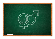 Male and female sex symbol on green chalkboard Stock Photo