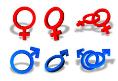 Male and female sex symbols. Collection of male and female sex symbols Royalty Free Stock Photo