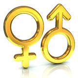Male and female sex symbols. Golden, isolated over white background Stock Photos