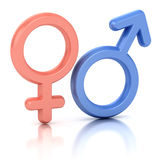 Male and female sex symbols. Isolated over white background Royalty Free Stock Photos