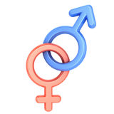 Male and female sex symbols. Isolated over white background Stock Images