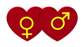 Male and female sex symbols with hearts Stock Photos