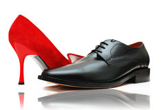 Male and female shoes Royalty Free Stock Photos