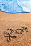 Male and Female sign. In the sand with sea Stock Images