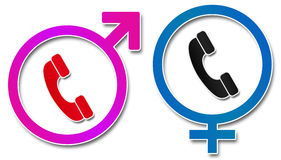 Male Female Sign With Phone Royalty Free Stock Image