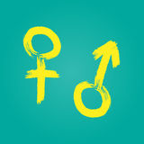 Male and female sign. Symbol man and woman. Brush, grunge. Royalty Free Stock Photos