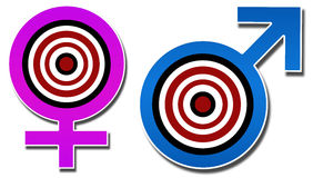 Male Female Sign with Target. Image with male felame sign with target board in between royalty free illustration