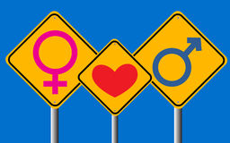 Male and female sign in traffic sign  Stock Photo